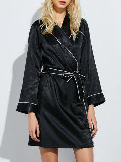 Bowknot Wrap Sleep Robe - Black M