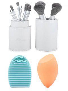 Cepillos Del Maquillaje Del Kit + Beauty Blender + Huevo Del Cepillo - Blanco