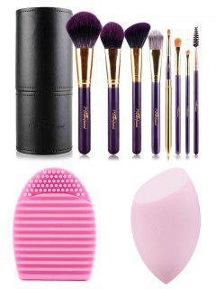 Los Cepillos Del Maquillaje Del Kit Del Cepillo + Huevo + Beauty Blender - Negro