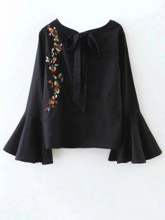 Cut Out Flare Sleeve Floral Tied Blouse - Black S