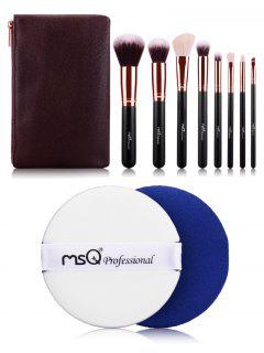Makeup Brushes Kit And BB Cream Puff - Rose Gold