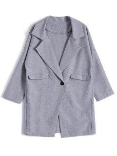 One Button Plus Size Blazer - Gray 3xl