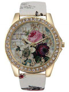 Rhinestone Faux Leather Rose Quartz Watch - White