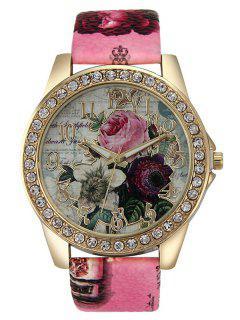 Montre Strass De Quartz Rose à Bracelet En Cuir Artificiel - Frutti De Tutti