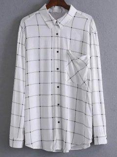 Chemise à Carreaux Avec Poche - Blanc M