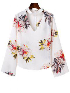 Bell Sleeve Floral Choker Top - White L