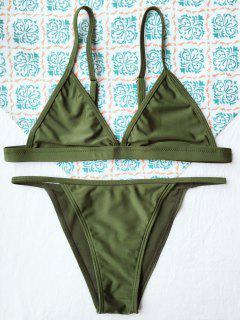 Tiny Unlined String Bikini Swimwear - Army Green S