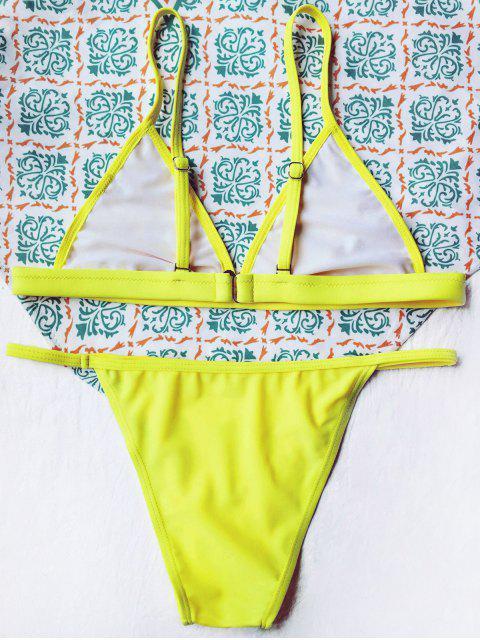 women's Tiny Unlined String Bikini Swimwear - YELLOW S Mobile