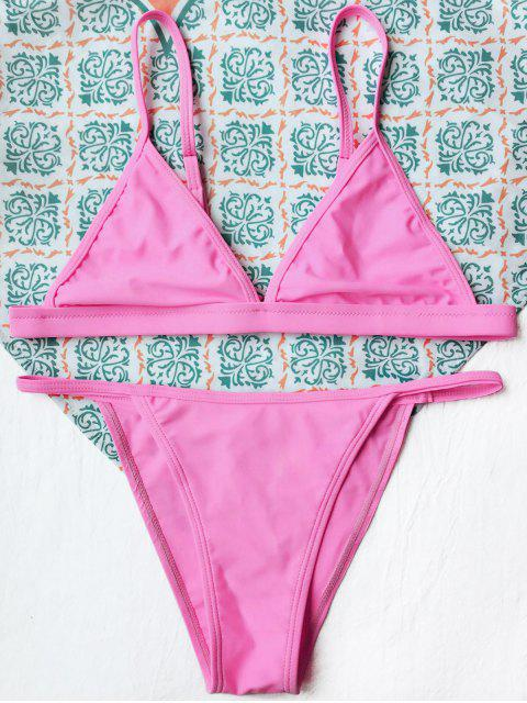 outfit Tiny Unlined String Bikini Swimwear - FLUORESCENT PINK L Mobile