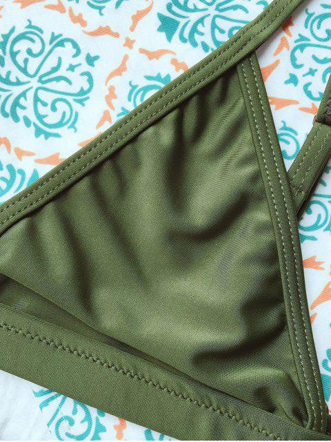 lady Tiny Unlined String Bikini Swimwear - ARMY GREEN M Mobile