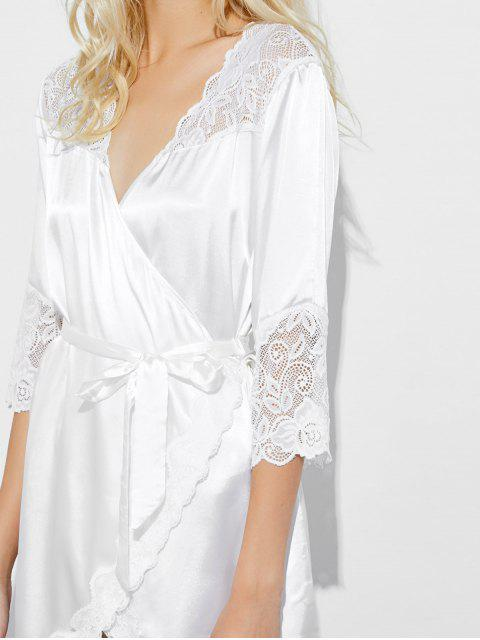 affordable Wrap Lace Panel Sleep Robe - WHITE M Mobile