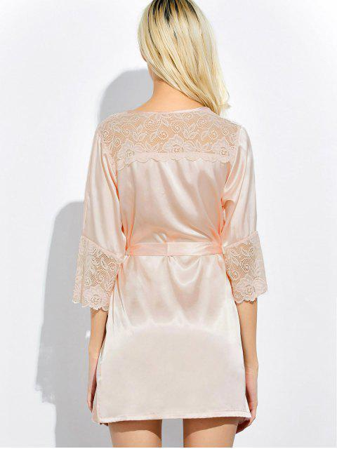 buy Wrap Lace Panel Sleep Robe - SHALLOW PINK XL Mobile