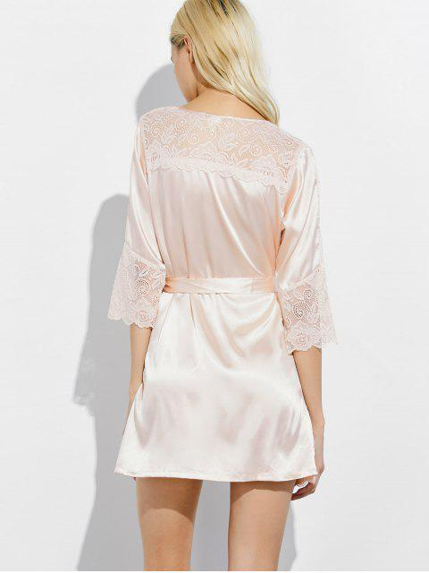 ladies Wrap Lace Panel Sleep Robe - CHAMPAGNE L Mobile