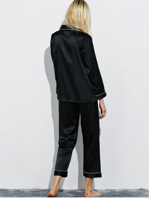 outfit Fitting Silk Nightwear Pajamas - BLACK L Mobile