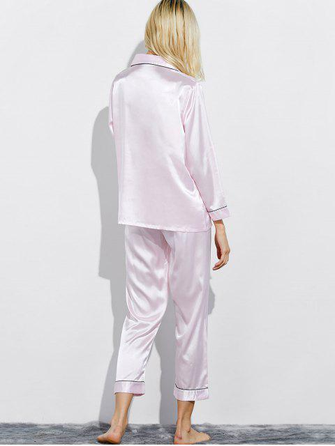 shops Fitting Silk Nightwear Pajamas - SHALLOW PINK L Mobile