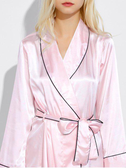unique Bowknot Wrap Sleep Robe - LIGHT PINK M Mobile