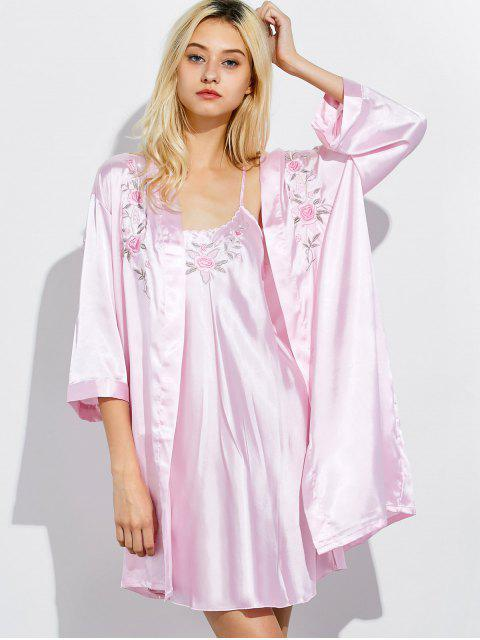 buy Embroidered Babydoll and Fitting Wrap Robe - LIGHT PINK XL Mobile