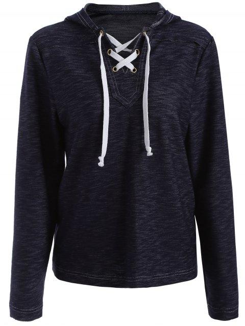 Kordelzug Schnur gebunden Pullover Hoodie - Blau XL  Mobile