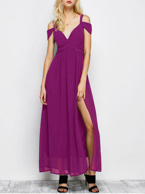 sale Cold Shoulder Slit Maxi Prom Dress - PURPLE L Mobile