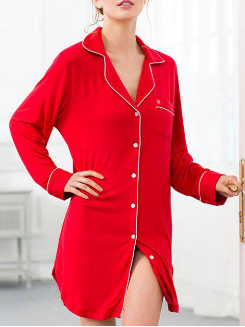 sale Cotton Sleep Shirt Dress With Pocket - RED M Mobile