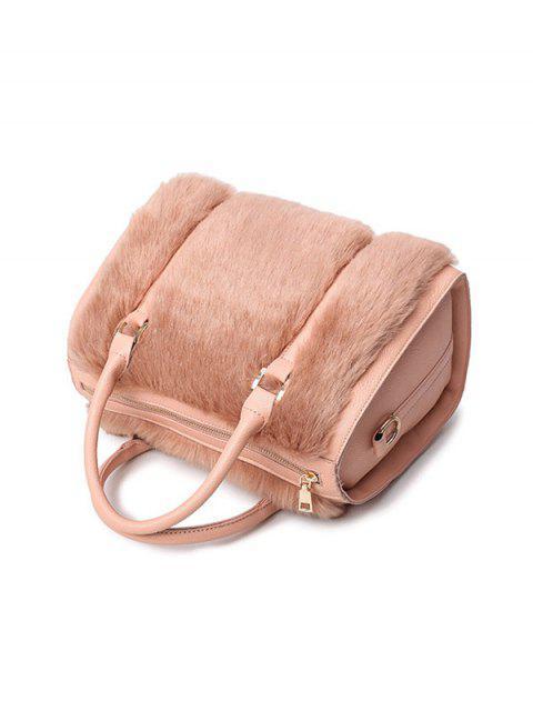 latest PU Leather Metal Faux Fur Tote Bag - PINKBEIGE  Mobile
