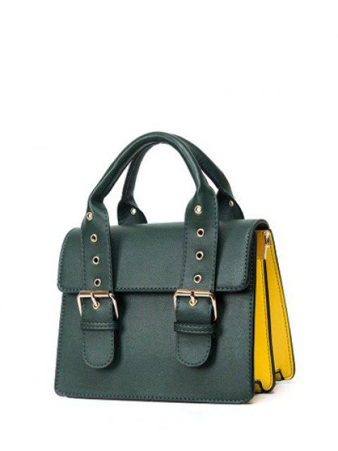 unique Color Block Eyelets Double Buckles Crossbody Bag - BLACKISH GREEN  Mobile