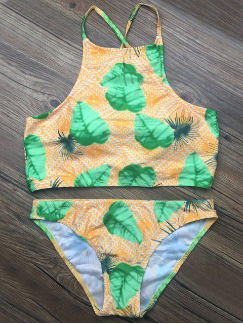 women's Crosscriss Tropical Print Bikini Set - GREEN S Mobile
