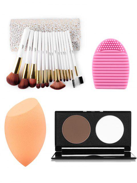 ladies Makeup Brushes Kit + Pressed Powder Kit + Makeup Sponge + Brush Egg - COLORMIX  Mobile