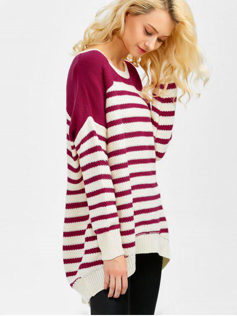 online Striped Oversized High Low Sweater - WINE RED M Mobile