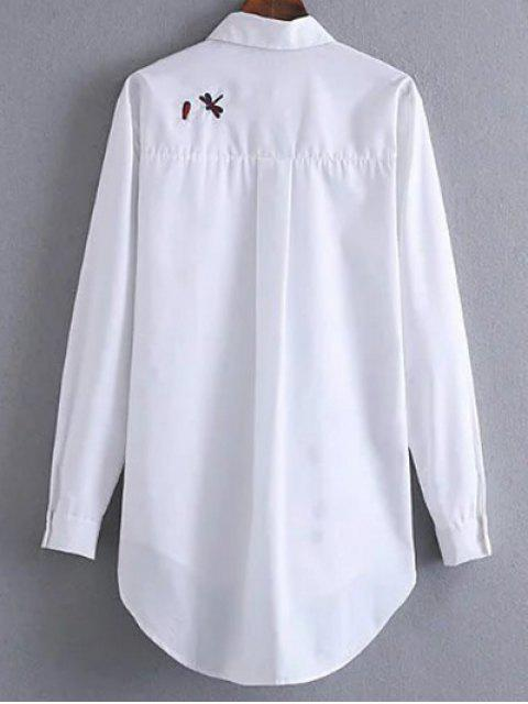 affordable Long Embroidered High-Low Shirt - WHITE L Mobile