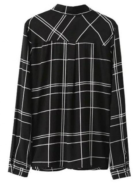 women's Fitting Plaid Shirt With Pocket - BLACK M Mobile
