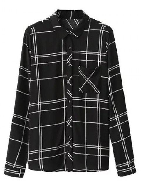 women Fitting Plaid Shirt With Pocket - BLACK L Mobile