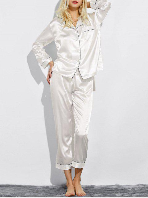 online Fitting Silk Nightwear Pajamas - WHITE L Mobile