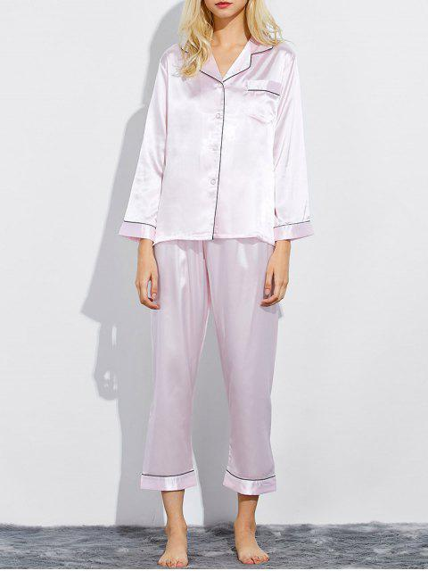 latest Fitting Silk Nightwear Pajamas - SHALLOW PINK M Mobile