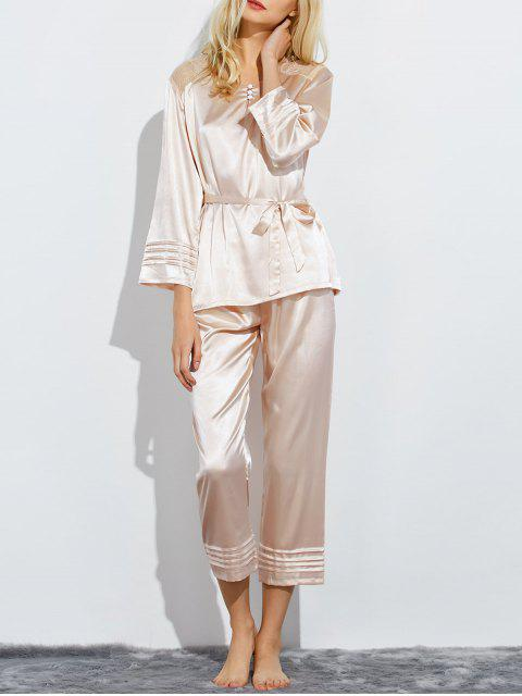 fashion Lace Panel Bowknot Nightwear Pajamas - CHAMPAGNE L Mobile