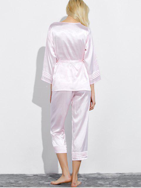 fancy Lace Panel Bowknot Nightwear Pajamas - SHALLOW PINK XL Mobile