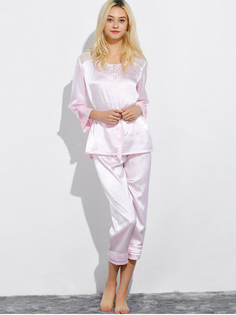 unique Lace Panel Bowknot Nightwear Pajamas - SHALLOW PINK L Mobile