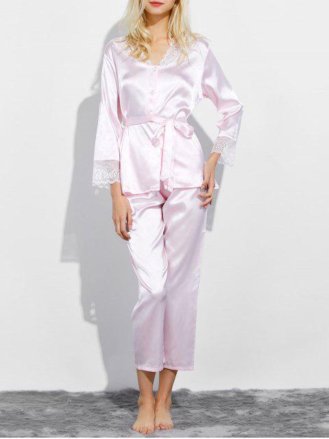 women's Belted Lace Insert Nightwear Pajamas - LIGHT PINK L Mobile