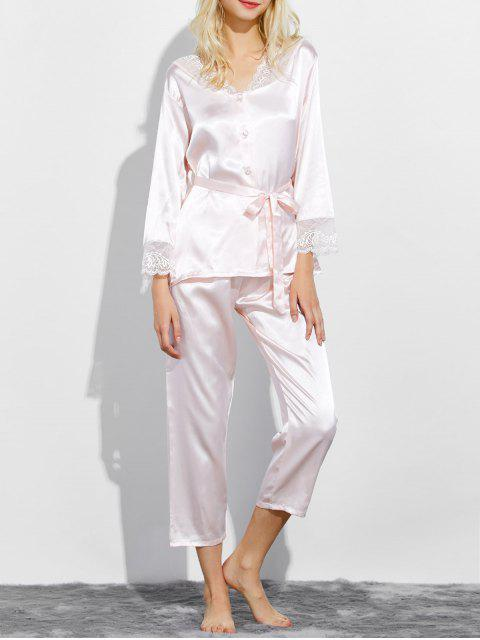 online Belted Lace Insert Nightwear Pajamas - SHALLOW PINK M Mobile