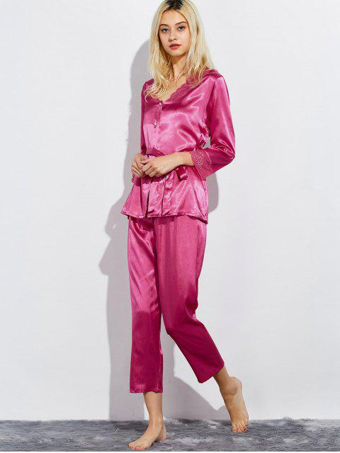 hot Belted Lace Insert Nightwear Pajamas - ROSE RED L Mobile