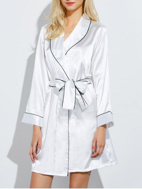 shop Bowknot Wrap Sleep Robe - WHITE L Mobile