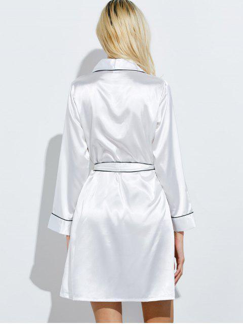 shops Bowknot Wrap Sleep Robe - WHITE M Mobile