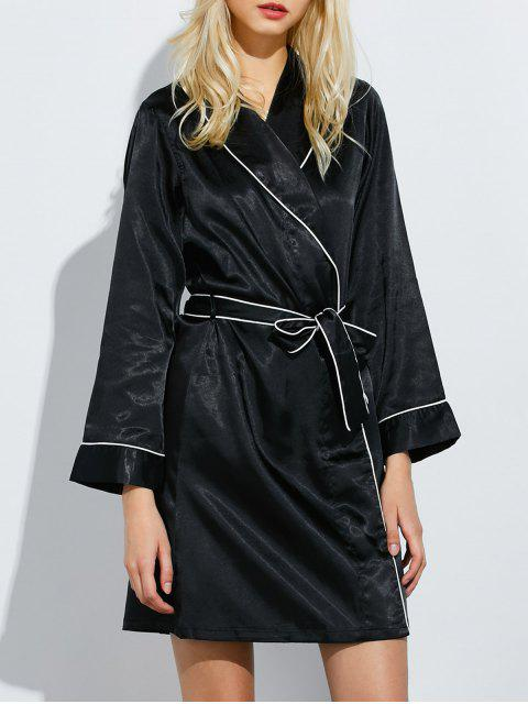 trendy Bowknot Wrap Sleep Robe - BLACK L Mobile