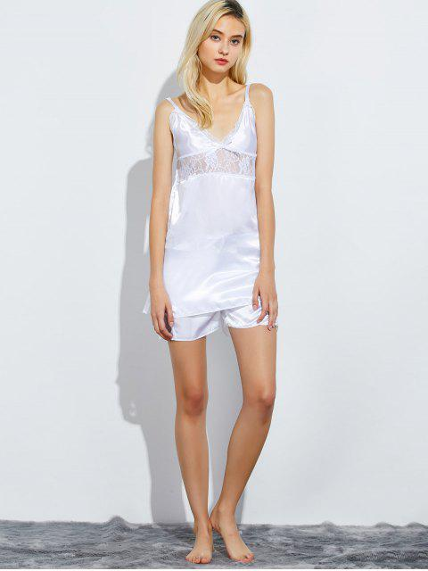 best Cami Lace Panel Tank Top and Shorts Pajamas - WHITE 2XL Mobile