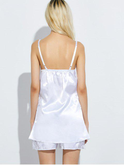 lady Cami Lace Panel Tank Top and Shorts Pajamas - WHITE 3XL Mobile