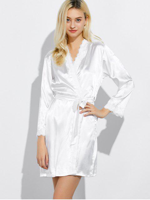 ladies Lace Panel Sleep Wrap Robe - WHITE L Mobile