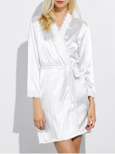 lady Lace Panel Sleep Wrap Robe - WHITE M Mobile