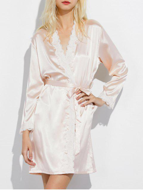 new Lace Panel Sleep Wrap Robe - CHAMPAGNE M Mobile
