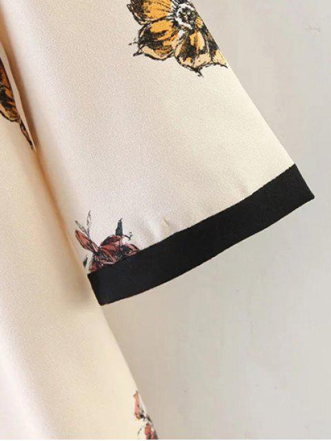trendy Floral Pattern Shift Dress - LIGHT BEIGE L Mobile