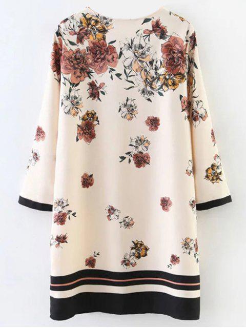 chic Floral Pattern Shift Dress - LIGHT BEIGE S Mobile